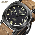 Top marca jedir relógio do esporte militar relógios preto matte couro genuíno relógio de quartzo dos homens de luxo dos homens relógio relogio masculino