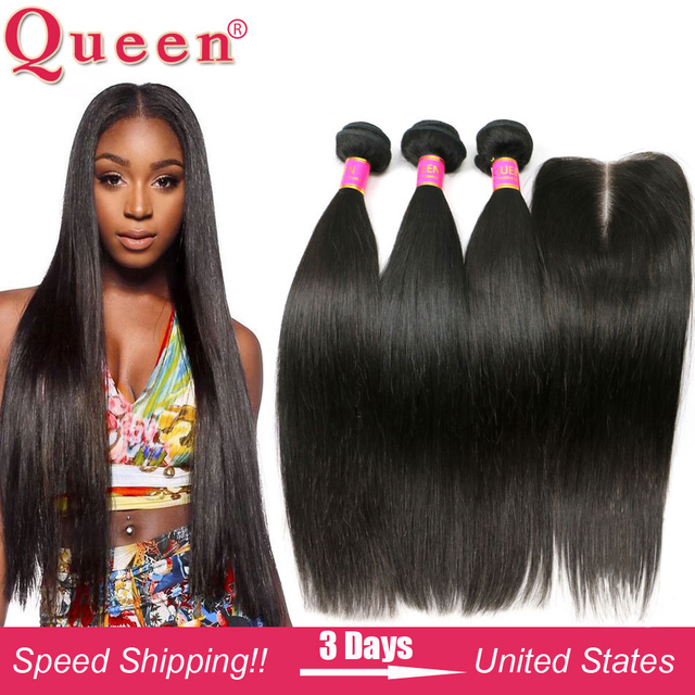8A Brazilian Virgin Hair With Closure Brazilian Straight Virgin Hair With Closure 3 or 4 Straight Hair Bundles With Lace Closure