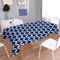 Navy Square Printed Tablecloth Vintage Circles with Overlapping Rounds Oval Figures Old Fashion Graphic Art Flannel Tablecloth