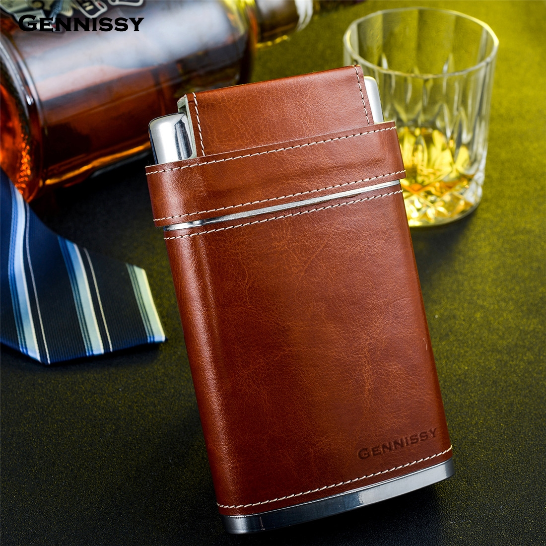 GENNISSY Brown Leather Holster Buckle Hip Flask 8 OZ Stainless Steel Flagons Men Portable Outdoor Whiskey