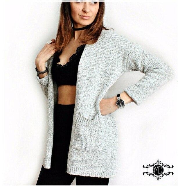 56db1f120e 2018 heißer Verkauf Herbst Winter Mode Frauen Langarm lose stricken  strickjacke pullover Frauen Strickte Weibliche Strickjacke