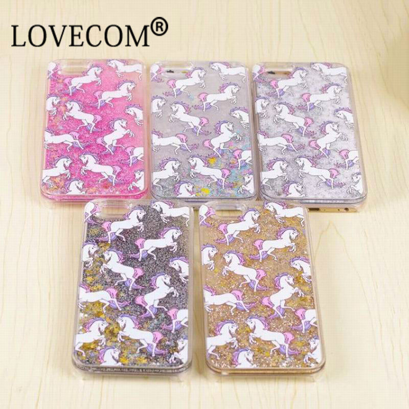 Unicorn Horse Dynamic Glitter Stars Dynamic Liquid Phone Case For iPhone 4S 5S SE 5C 6 6S Plus For Samsung S5 S6 S6 S7 Edge