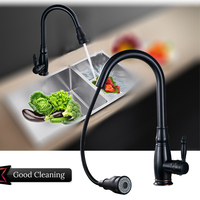 Uythner Deck Mount Pull Out 2 Function Switch Black Blackened 4 Color Kitchen Faucet Swivel Spout