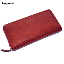 Genuine Leather Wallet Long Zipper Wallet Unisex Cow Leather Purse Clutch Wallet Solid Fashion Women Coin Wallets