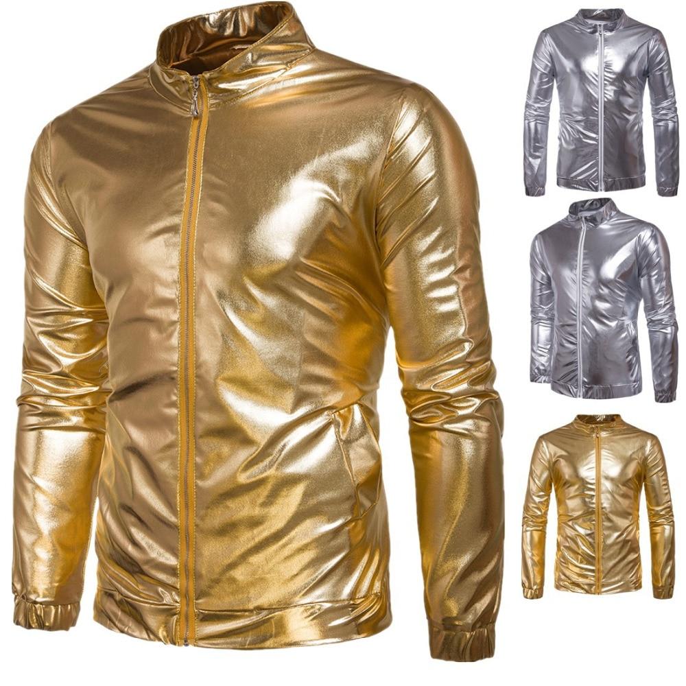 Nightwear Men's Night Club Hipster Metallic Shiny Slim Fit Zip Up Jacket Long Sleeve Wet Look NightClub Disco Party Shirts