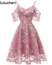 2019 New Women Floral Print Elegant Dress Vintage Lace Sexy Off Shoulder Summer A Line Swing Short Lady Evening Party Dresses цена 2017