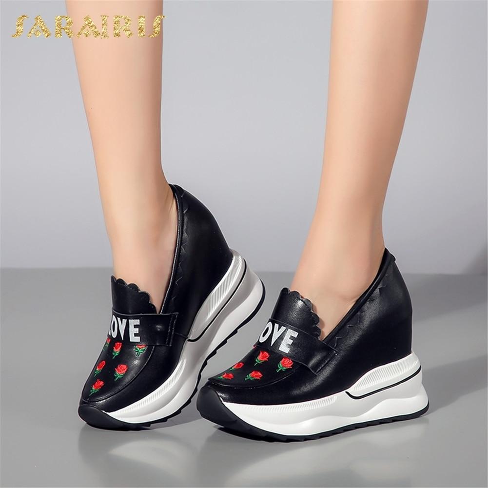 SARAIRIS 2018 Cow Leather Large Size 31-40 On Sale Platform Increasing Heels Slip On Dropship Shoes Woman Vulcanize Woman Shoes