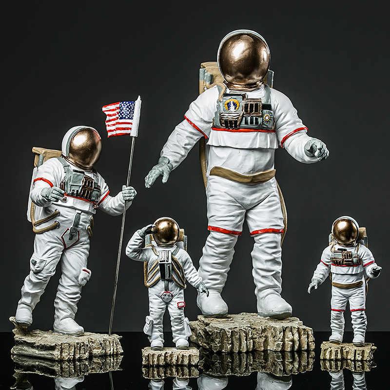 Crafts Space Man American Astronaut Sculpture Rocket Plane