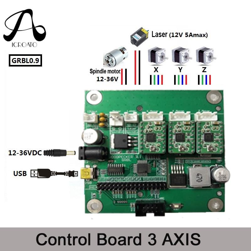 ICROATO GRBL 1.1 USB Port CNC Engraving Machine Control Board, 3 Axis Control,Laser Engraving Machine Board