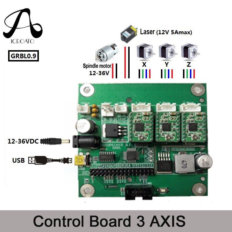 ICROATO GRBL 0.9 USB Port CNC Engraving Machine Control Board, 3 Axis Control,Laser Engraving Machine Board