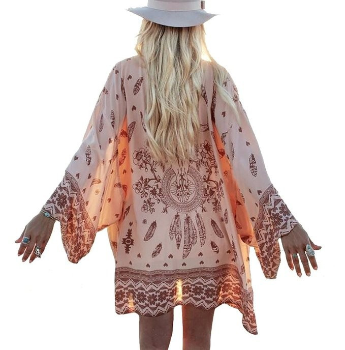 Women Shirt Kimono Boho Cardigan Vintage Geometric Print Blouse Loose Shawl Lady Bohemian Coat Jacket Two Color 2