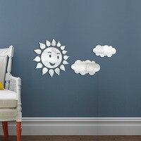 Design 3D espelhos decorativos Decalque Reflexivo dia Ensolarado Sol Nuvem Sricker Para kid Quarto Mural Art adesivos de Parede Espelho 75x46 cm