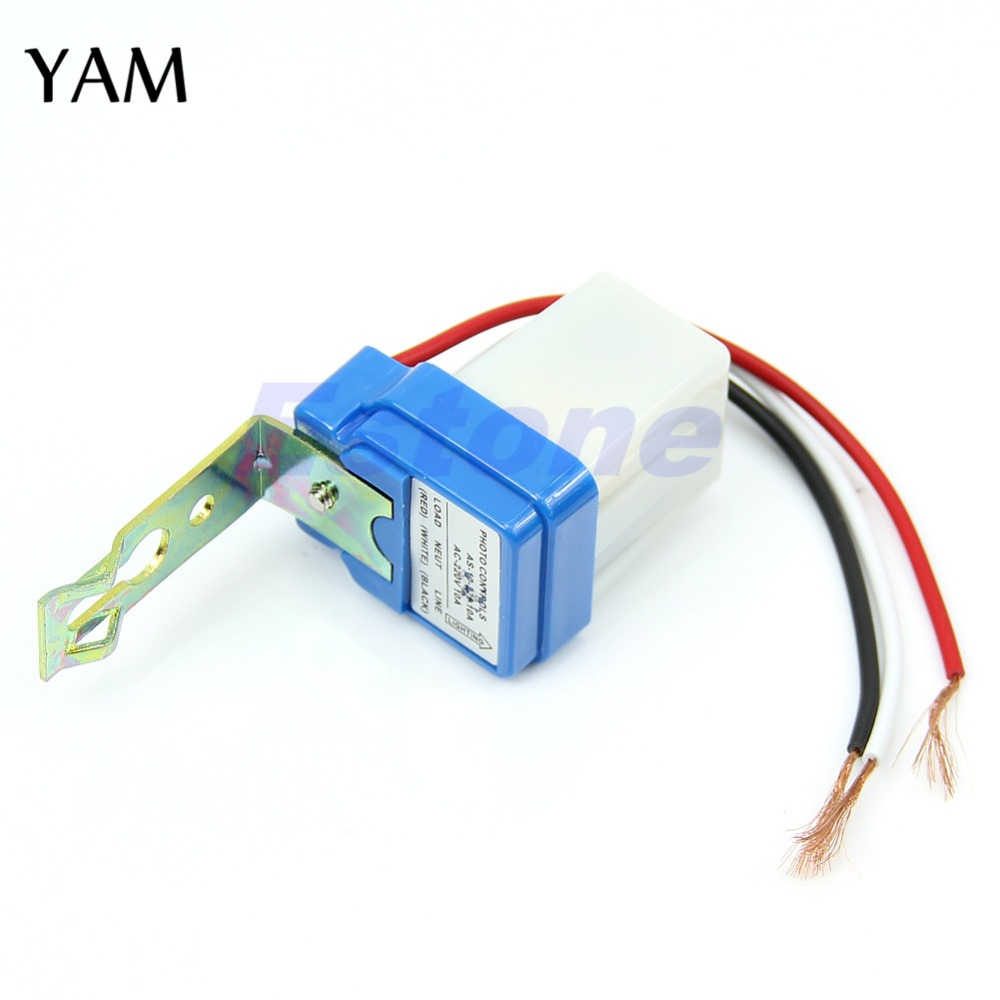 1pc New AC DC 220V 10A Photocell Street Light Sensor Switch Photoswitch Auto On Off new lp2k series contactor lp2k06015 lp2k06015md lp2 k06015md 220v dc