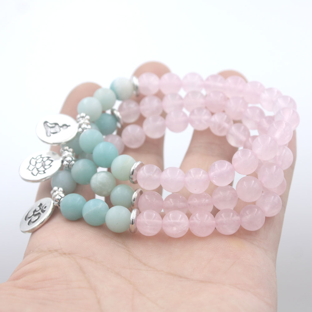 Rose Quartz and Amazonite Mala Bracelet 4