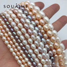 SOUAIME Natural Freshwater Pearl Necklace AAA 7-9mm White Pink Purple Oblate For Women Gift Wholesale