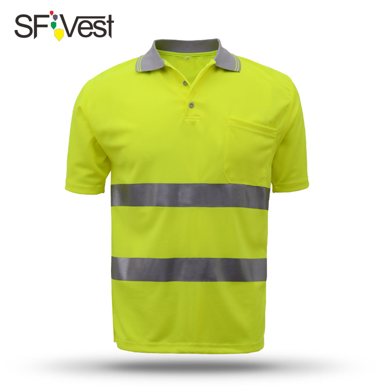 Hi vis t shirt work safety clothing workwear dry fit t shirt short sleeve reflective safety shirt free shipping