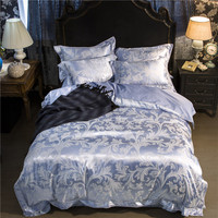 Simple Leaves Silver Blue 4Pcs Queen King Size Bedding Sets Silk Cotton Fabric Jacquard Technics Flat