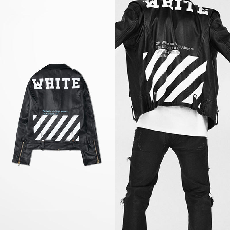 Men Winter Pu Leather Motorcycle Jacket Off White Leather Jacket Men Jaqueta Moto Off White Virgil Abloh Motorcycle Jackets Coat For Mens Mens Jackets