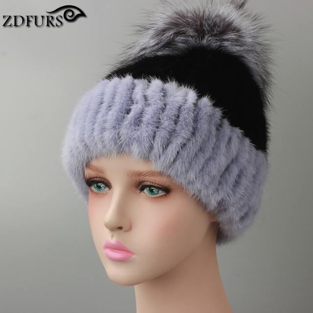 Genuine  Mink Fur Hat With Silver Fox Fur Pom Poms Beanies 2016 New Winter Warm Real Mink Fur Caps