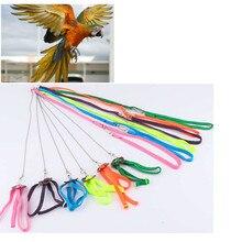 Домашние животные шлейка для птицы и поводок анти-укус Регулируемый многоцветный светильник мягкий поводок для птиц