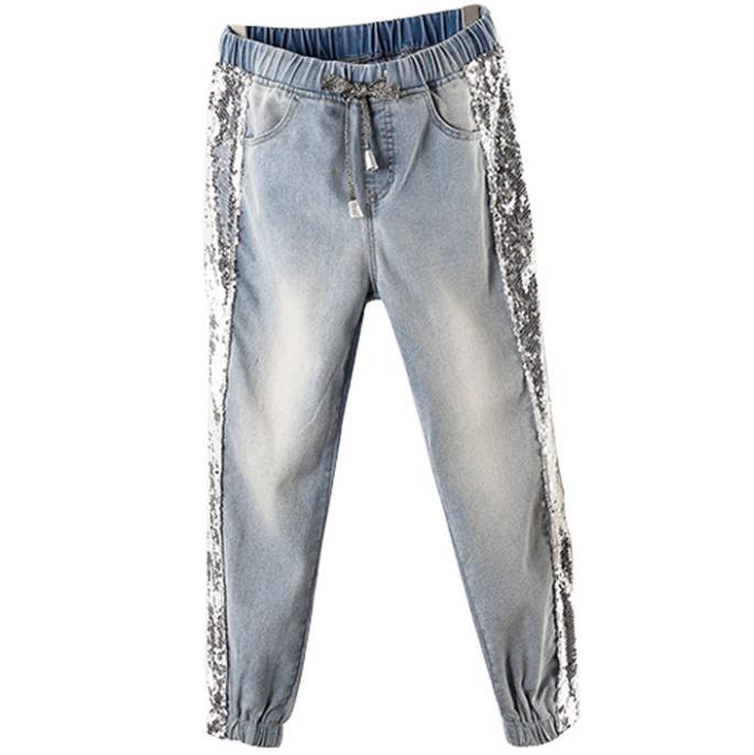 Plus Size 5XL!2019 Spring Sequins Jeans Women Loose Elastic High Waist Casual Beam Harem Pants