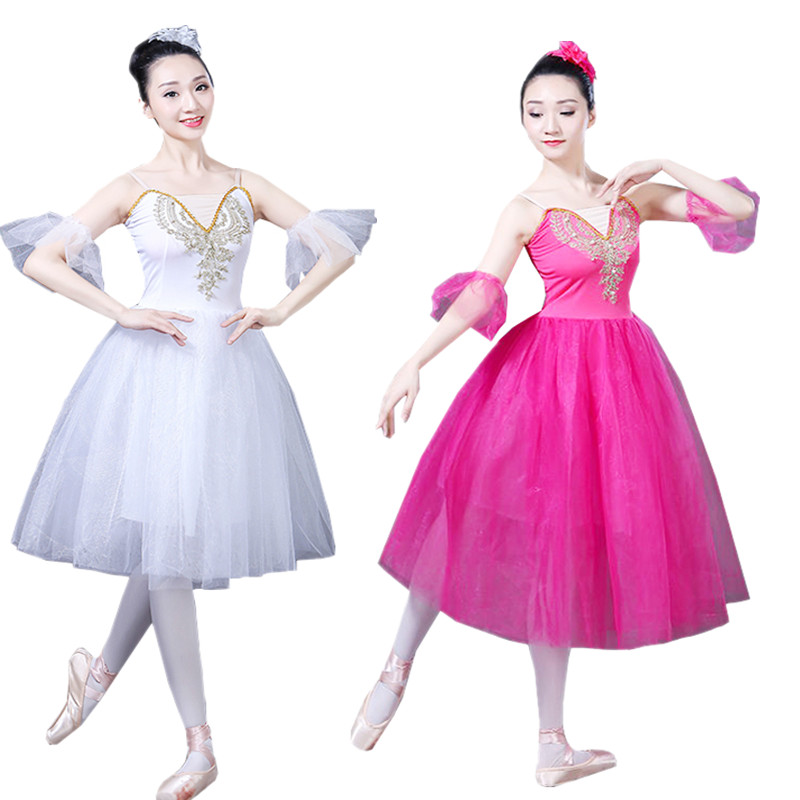Adult Long Ballet Dress Romantic Classical Ballet Tutu Balett Dress Girl Swan Lake Performance Costumes Outfits Ballet Wear