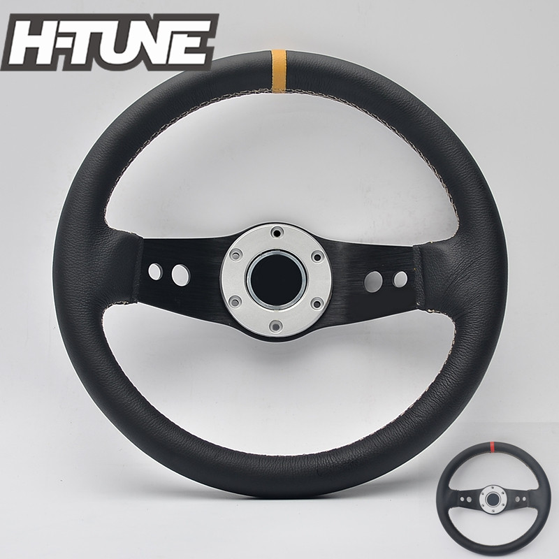 цены H-TUNE 330mm Genuine Leather Universal Racing Car Sports Steering Wheel