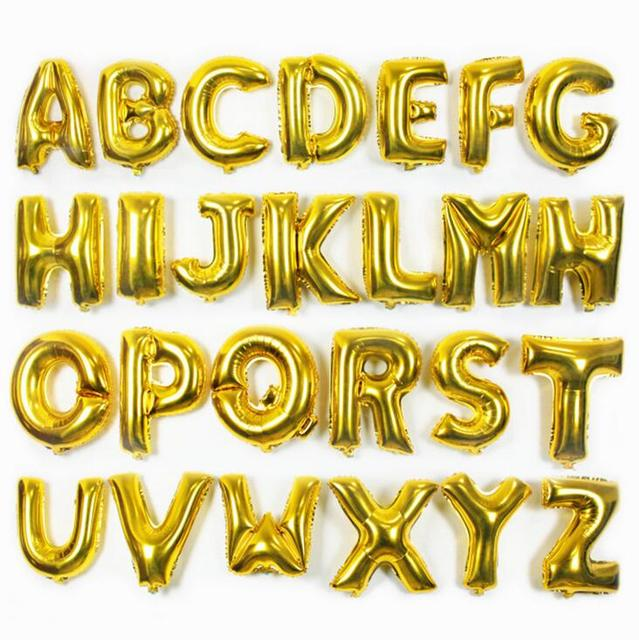 16inch Gold Alphabet Letter Balloons Foil Balloon Birthday New Year Wedding party Decoration custom Name DIY Balloon