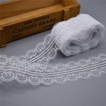 Красивые 10 ярд белый кружево, лента, тесьма 45 мм широкий отделкой ремесла вышитые шнур Вышивание украшения в африканском стиле платье кружево ткань