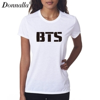 Donnalla Women T Shirts Short Sleeve O Neck New Style BTS Letter Printed Lady Tshirt Tops