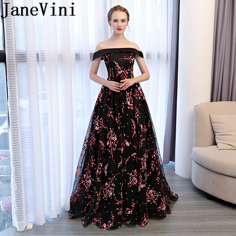 JaneVini Black Tulle Long   Bridesmaid     Dresses   Floral Print Backless Princess   Dresses   Floor Length Ladies Gowns for Formal Party