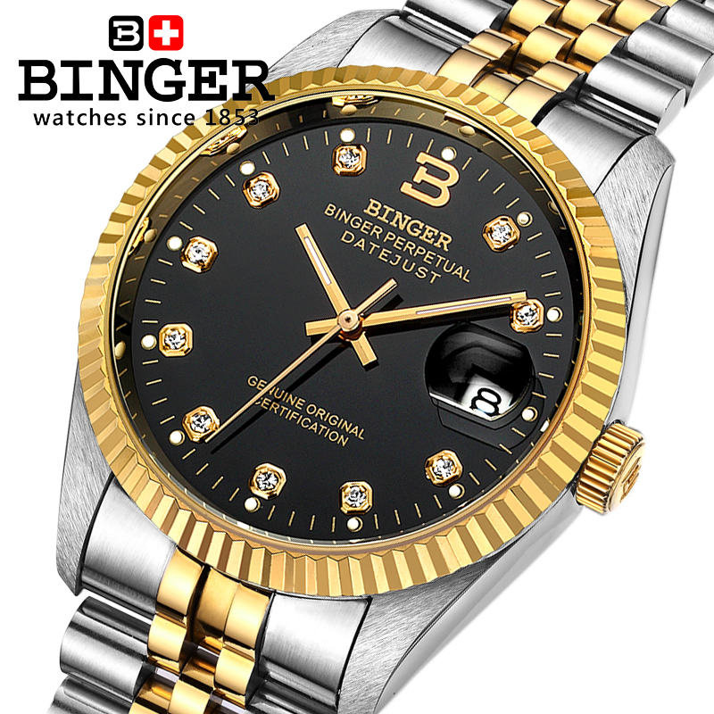 Switzerland Wristwatches BINGER 18K gold men's watch self-wind automatic winding mechanical Wristwatches BG-0373