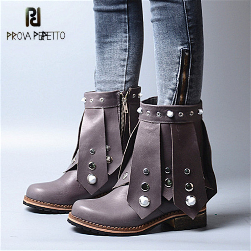 Prova Perfetto Designer Rivets Studded Ankle Boots for Girl Fringed Flat High Boots Retro Women Autumn Botas Mujer Rubber prova perfetto yellow women mid calf boots fashion rivets studded riding boots lace up flat shoes woman platform botas militares