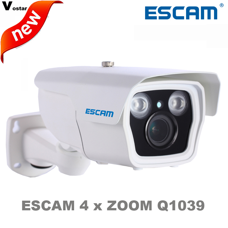 ESCAM 2 MegaPixel ONVIF H.264 1028P HD Waterproof P2P Network 4 x Auto Zoom Vari-Focal IR Bullet Camera Q1039 outdoor IP Camera