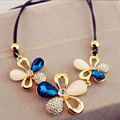 Charm  Fashion Crystal Flower Pendant Choker Necklace Elegant Chunky Statement Bib Chain Necklace Jewelry For Women Party