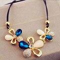 Charm fashion crystal flower pendant choker collar elegante chunky bib declaración collar de cadena de joyería para las mujeres party