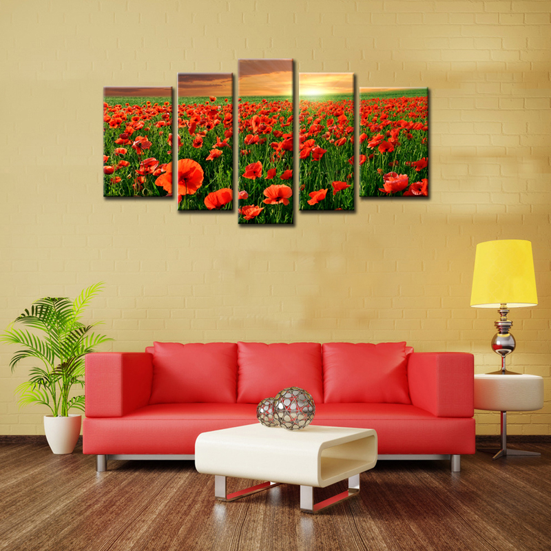 Amosi Art-5 Panels Flower <font><b>Sea</b></font> Wall Art Canvas Painting Beautiful Red <font><b>Poppy</b></font> Flower with Wooden Framed For Home Decoration as Gift