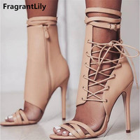 FragrantLily Roman Buckle Strap Shoes Women Sandals Sexy Gladiator Lace Up Peep Toe Sandals High Heels