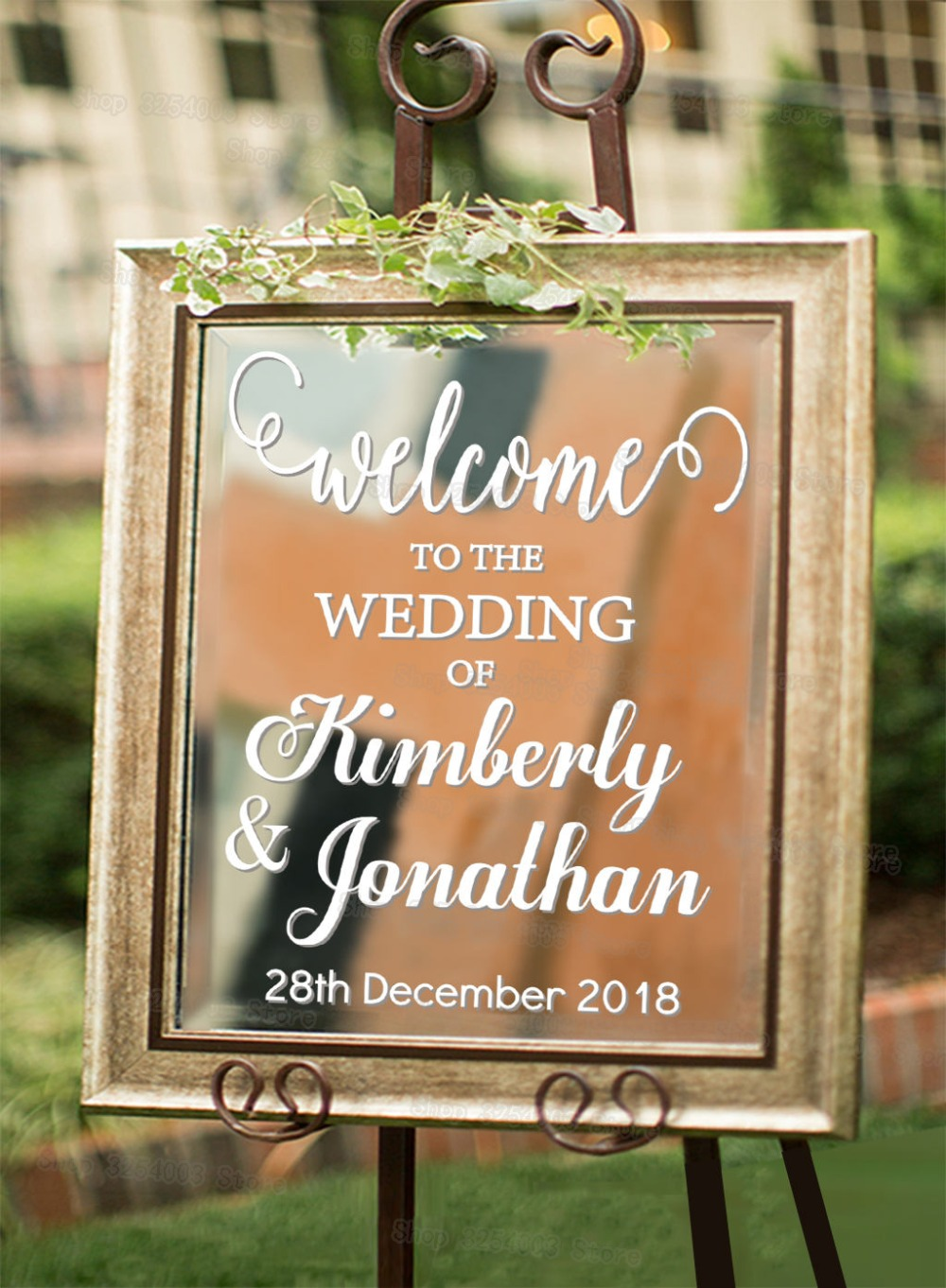 Personalized Welcome to Wedding Decal Sign for Mirror Board Removable Wedding Decorate Custom Name Date Vinyl Art Stickers S432