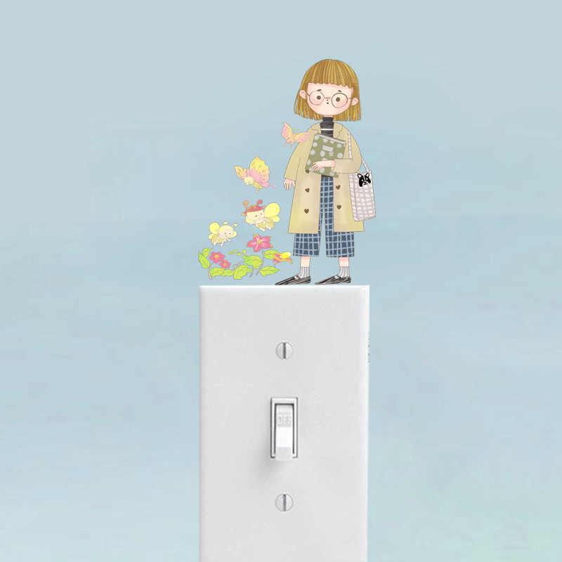 YOJA Ile Sevimli Kız Arı Duvar Sticker Renkli Anahtarı PVC Çocuk Odası Yatak Odası Dekor 12SS0187