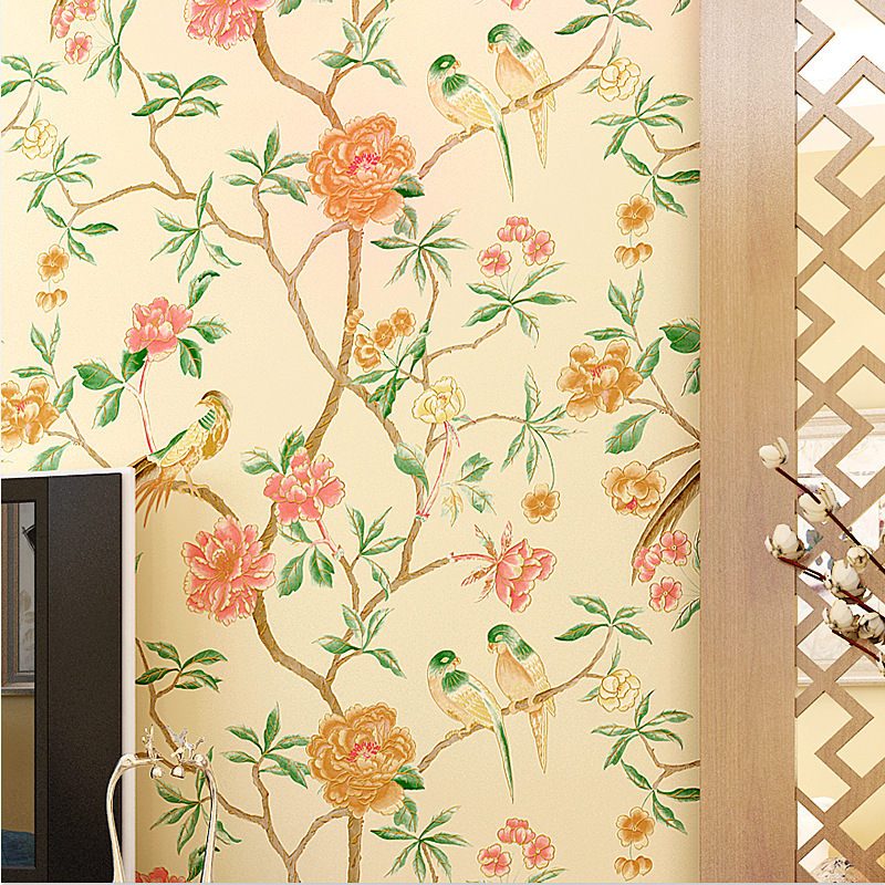Classical Chinese Style Hand-painted birds and flowers non-woven wallpaper bedroom full shop wallpaper wall papers home decor 2016 new selling non woven wallpaper south east asia imitation embroidery american birds and flowers bedroom tv porch wallpaper
