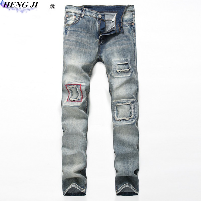 2108 Vintage mens straight jeans, old, worn, cat whiskers, trim, street personality, ripped jeans, high quality, free shipping