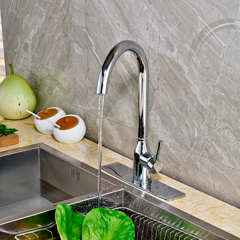 Contemporary Kitchen Sink Faucet Chrome Finished Swivel Spout Mixer Tap with Cover Plate