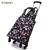 Oxford cloth Travel Suitcase,Cabin Rolling Luggage Bag,Handbag with wheel ,Grocery shopping cart,53*30*18 cm Trolley