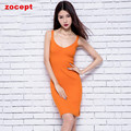 zocept 2016 Autumn Winter Sexy Women's Cashmere Blend Dresses Knitted Rib V-Neck Sleeveless Solid Split Dress Warm Slim Clothes