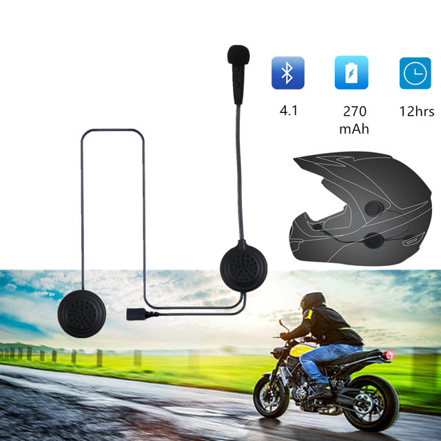 EJEAS E1 Bluetooth 4.1 Motorcycle Helmet Headset 270mAh 12hrs Wireless Skiing Communication Without Intercom for 2 Riders