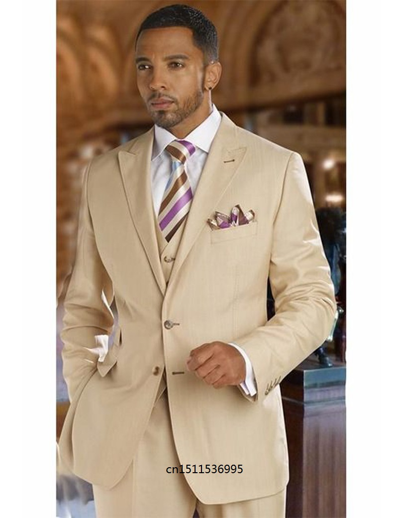 Champagne Men Suits 2 Buttons Groom Tuxedos Groomsmen