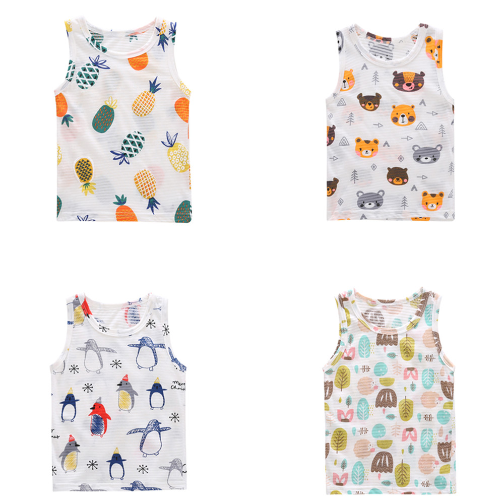 1-7 Kids Boys Vest Baby Girls T-shirt Children Top Waistcoat Summer Clothes Cotton Tops Girl Toddler Cute Cartoon T Shirts White