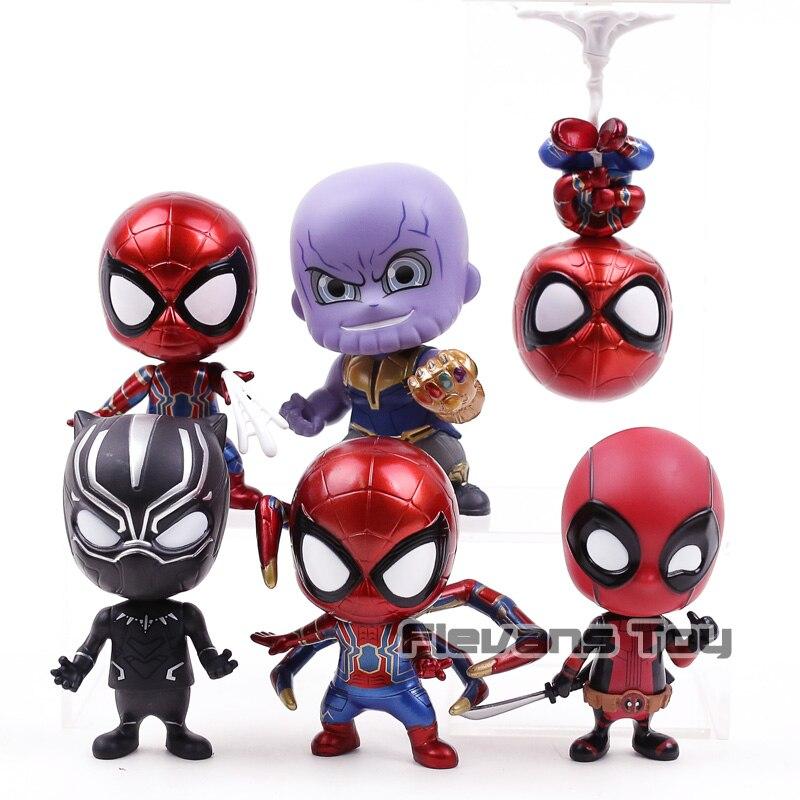Avengers Infinity Guerra Thanos Pantera Nera Spiderman Iron Spider Deadpool Q Versione PVC Action Figure Giocattoli 6 pz/set