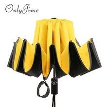Sólo Jime Paraguas automático de marcha atrás paraguas de alta calidad a prueba de viento paraguas plegable impermeable reversible paraguas de lluvia